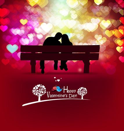 romantic: Happy Valentines Day card. love romantic background Illustration