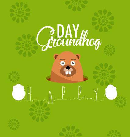Happy Groundhog Day Illustration