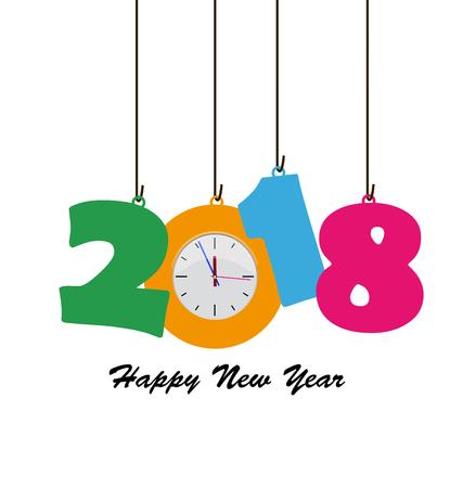 Gelukkig Nieuwjaar 2018 Vector Illustratie