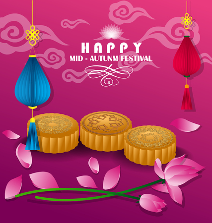 happy mid autumn festival chinese background