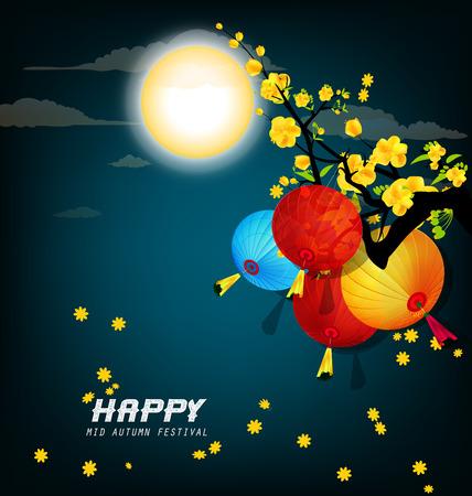 feast: A happy mid autumn festival illustration.