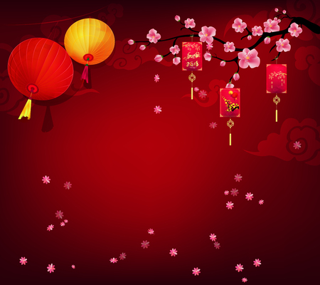 Red envelopes, Happy new year 2018 greeting card and chinese new year of the dog