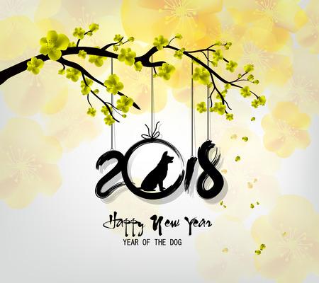 Gelukkig nieuw jaar 2018 wenskaart en Chinees Nieuwjaar van de hond, Cherry blossom achtergrond Stockfoto - 89104781