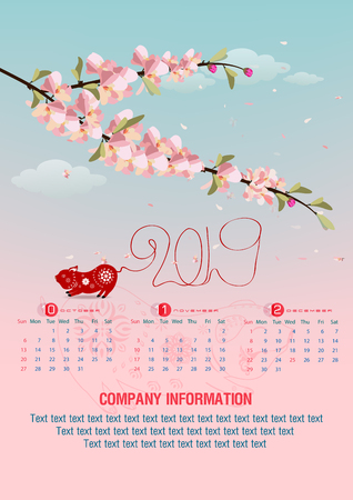 Calendar 2019 and Happy new year  background