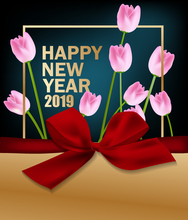 Happy new year 2019. Chinese new year. Year of the pig Vektoros illusztráció