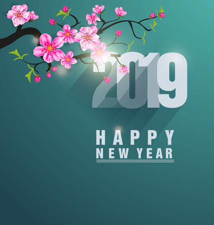 Happy new year 2019. Chinese new year. Year of the pig Vectores