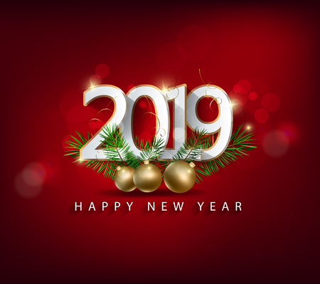 Happy new year 2019 Stock Illustratie