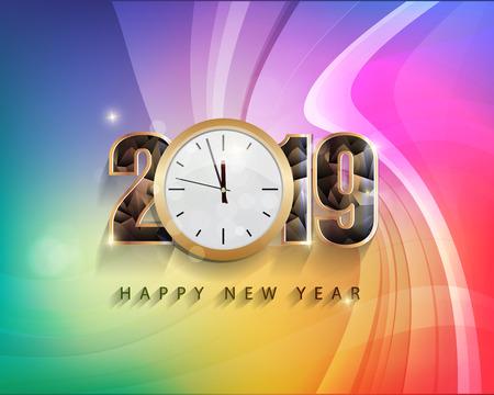 Happy new year 2019 and Merry Christmas Vektoros illusztráció