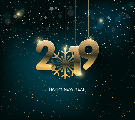 Happy New Year 2019 with fireworks background. Chienese New Year, Year of the Pig.