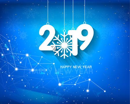 Happy new year 2019 and Merry Christmas Ilustração Vetorial