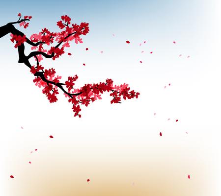 sakura frame. Background with blossom cherry tree branches. Hand drawn japanese flowers background Vektoros illusztráció