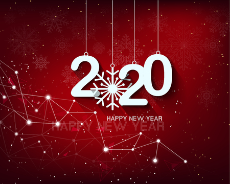 2020 Happy New Year Background for your Seasonal Flyers and Greetings Card or Christmas themed invitations Ilustração