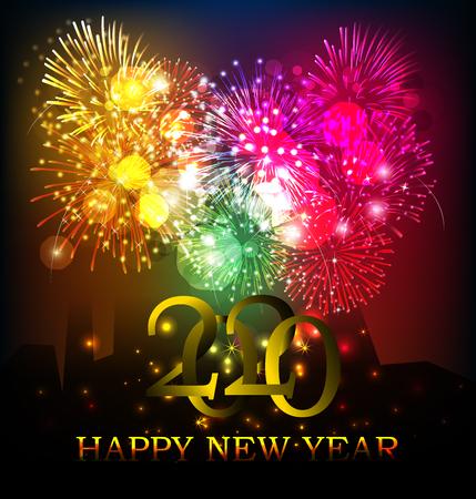 2020 Frohes neues Jahr Hintergrund für Ihre saisonalen Flyer und Grußkarten oder Einladungen zum Thema Weihnachten Vektorgrafik