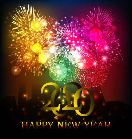 2020 Happy New Year Background for your Seasonal Flyers and Greetings Card or Christmas themed invitations Vector Illustration