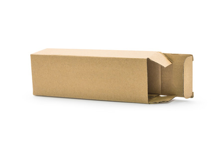 Cardboard box isolated on  background. Template of long box for your design.