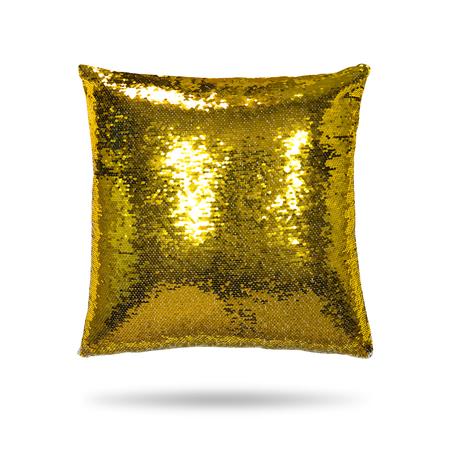 Fashion pillow isolated on  background. Shiny cushion for interior decor. Reklamní fotografie