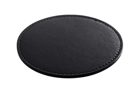 Black beverage coasters isolated on  background. Blank leather coasters for your design. Stockfoto