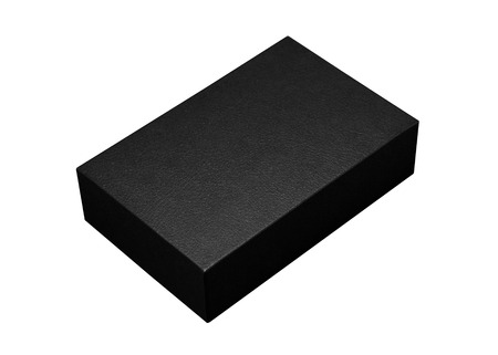 Black box isolated on white background. Dark product package for your design.  paths object. ( Rectangle shape )