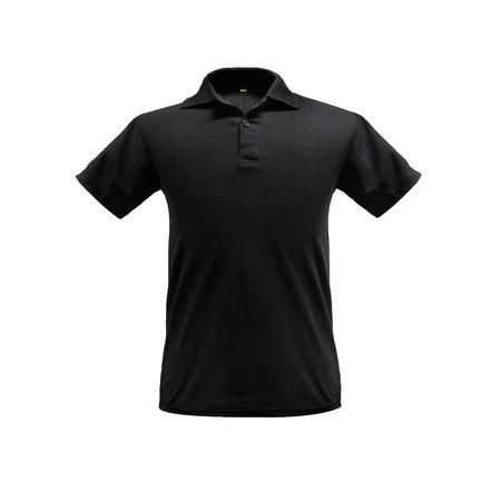 Schwarze Mode-Polo-Shirt-Vorlage auf isoliertem Hintergrund mit Beschneidungspfad. Standard-Bild