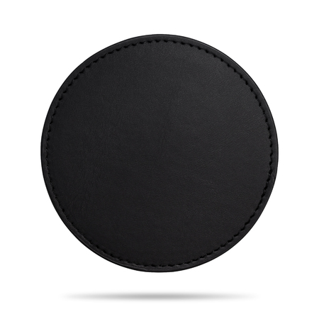 Black beverage coasters isolated on white background. Blank leather coasters for your design. ( Clipping path )