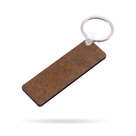 Wooden key ring isolated on white background. Key chain for your design. Clipping paths object. ( Long rectangle shape )