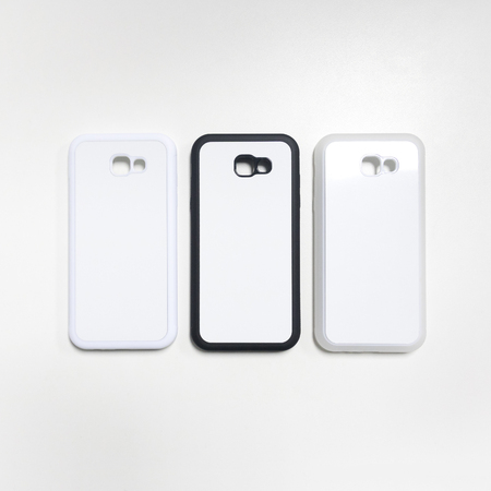 Smartphone case on white background. Blank mobile mock up or protector for design.
