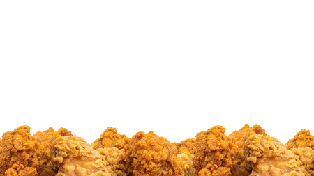 Fried chicken and copyspace background. Crispy fast food. ( Clipping path )