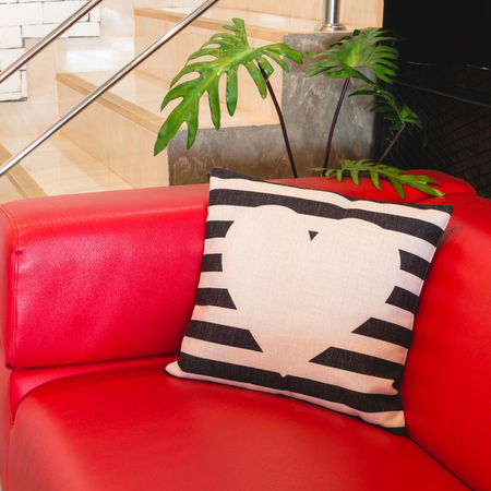 Colorful modern design pillow put on red luxury sofa. Beautiful decoration house object of relax or rest.