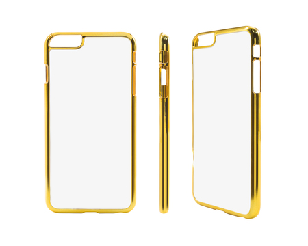 Golden smartphone case on isolated background with clipping path. Blank protection mobile mock up for montage or your design.