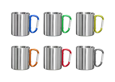 Stainless mug on isolated background with clipping path. Tin cup and handle clip for your design.