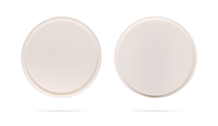 Coaster on isolated background with clipping path. Plastic plate for protection your mug or cup. Stockfoto