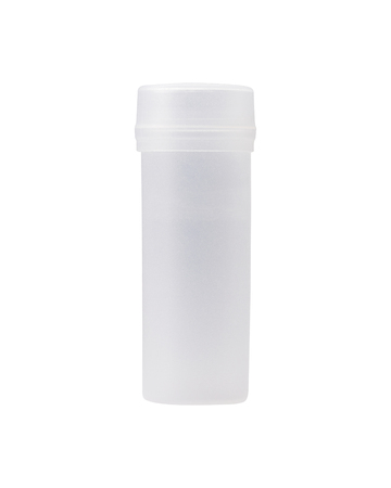 Cylinder plastic bottle on isolated background. Transparent tube package and lid. ( Clipping path or cutout object for montage ) Imagens