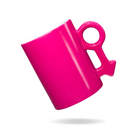 Pink mug on isolated background. Colorful handle coffee cup in male sign concept. ( Clipping path or cutout object for montage )