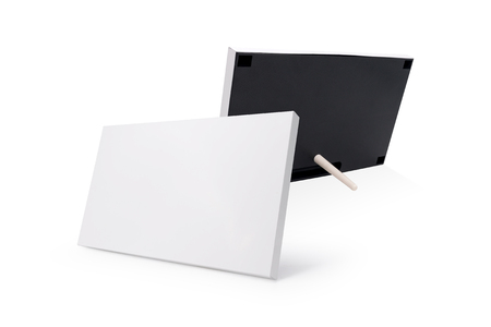 White photo frame and stand on isolated background. Blank picture border for your design. ( Clipping path or cutout object for montage )
