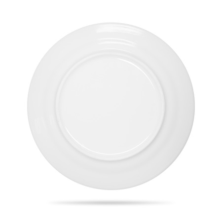 Ceramic dish isolated on white background. Back view of blank plate. ( Clipping path ) 免版税图像