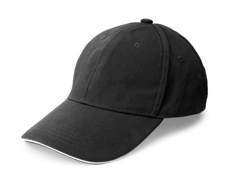 Gorra negra aislada sobre fondo blanco. Plantilla de gorra de béisbol en vista lateral. (Trazado de recorte)