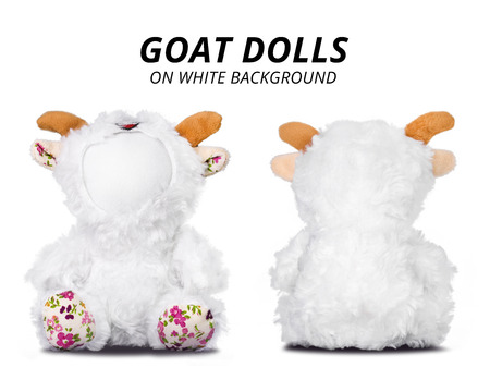 Goat dolls isolated on white background. Blank face for your design.