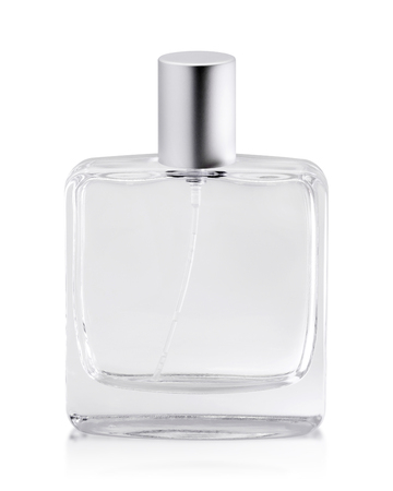 Frasco de perfume vacío aislado sobre fondo blanco. Recipiente de aroma con tubo. (Objeto de ruta de recorte)