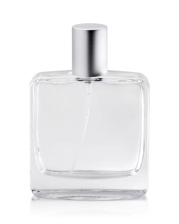 Pusta butelka perfum na białym tle. Pojemnik na zapachy z tubą. ( obiekt ścieżki przycinającej )