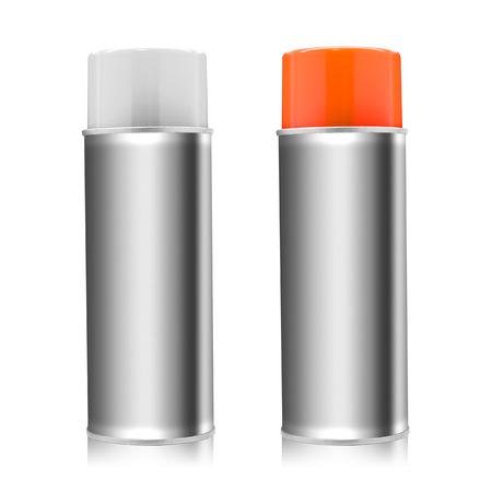 Botella de pintura en aerosol aislada sobre fondo blanco. Objeto vacío para el diseño. (Trazado de recorte) Foto de archivo