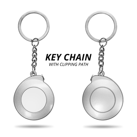 Steel key chain isolated on white background. Blank key ring in measuring tape concept. ( Clipping path )