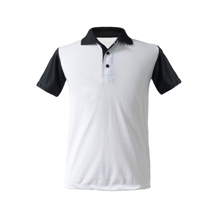 A twotone polo shirt black sleeve and collar on isolated background. Fashion apparel in blank tk textile for your design.