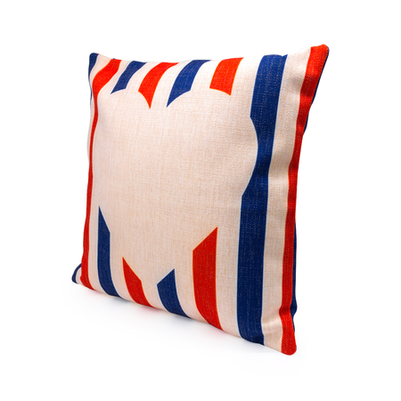 Colorful stripes design pillow cover on isolated background. Burlap textile texture for decoration on your bed.
