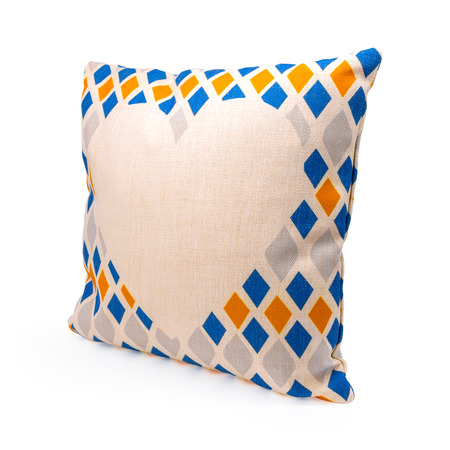 Colorful diamond shape design pillow cover on isolated background. Burlap textile texture for decoration on your bed.