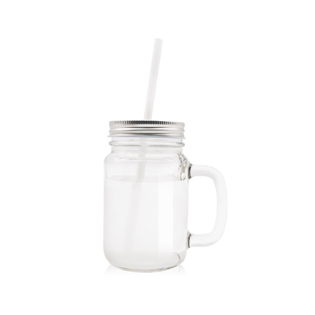 Clear jar and tube on isolated background Stock Photo