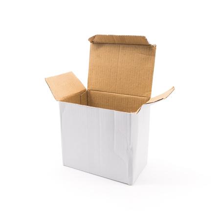 Open box on isolated background Foto de archivo