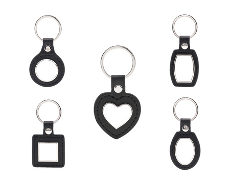 Leather key chain on isolated background