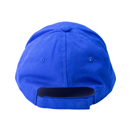 Blue cap isolated on white background. Template of baseball cap in back view.