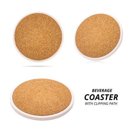 Set of ceramic beverage coaster isolated on white background. Wooden pad for put your mug.