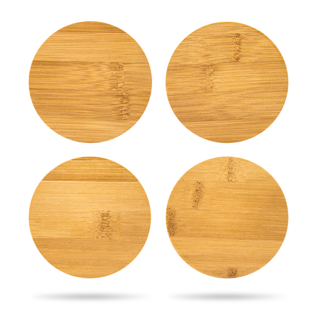 Set of wooden beverage coaster isolated on white background. Abstract Wood pad for put your mug. Stockfoto